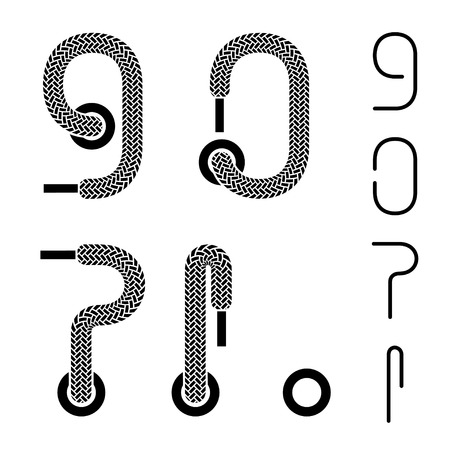 shoe lace number 9 0 question exclamation dot mark Vector
