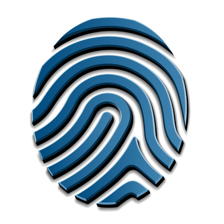 fingermark: 3D drawing fingerprint symbol Illustration