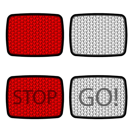 reflectors: bicycle reflectors red white Illustration