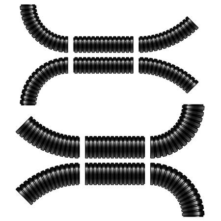 zwarte gegolfde flexibele buizen Stock Illustratie