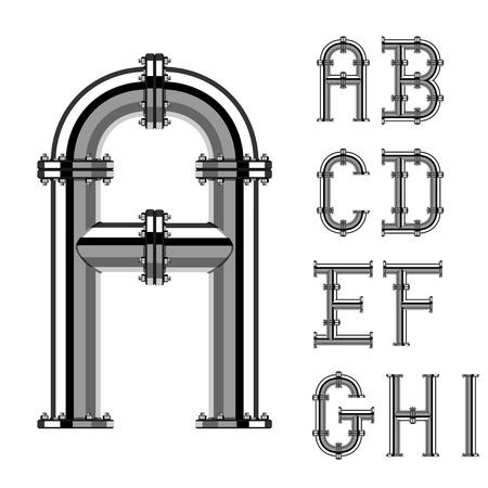 czcionki: rury chromowane litery alfabetu część 1
