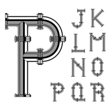 chrome letters: chrome pipe alphabet letters part 2 Illustration