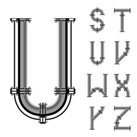 chrome pipe alphabet letters part 3 Vector