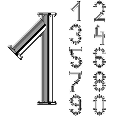 chrome pipe alphabet numbers Vectores
