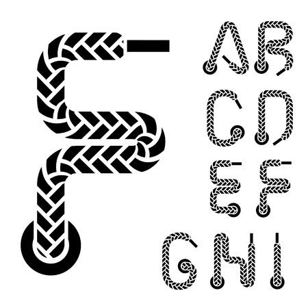 shoe lace alphabet letters part 1 Vector