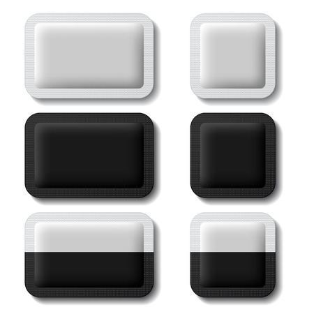 bolsita: sachet packaging blanco negro