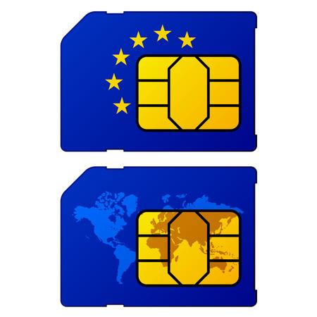 sim card: europe flag world map sim card
