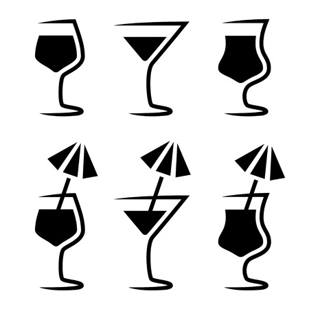 cocktail cold: cocktail glass silhouette with parasol Illustration