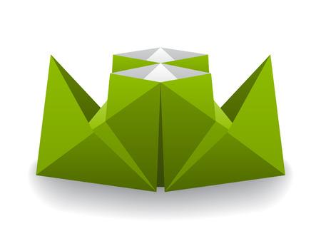 vector origami paper steam boat Vector