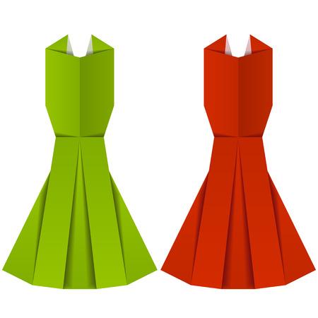soir�e: vecteur origami v�tements dames de papier de soir