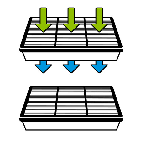 air filter: vector air filter flow symbols