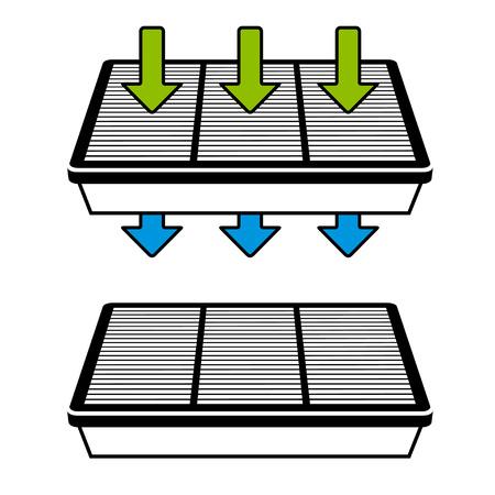 papel filtro: vector de filtro de aire de flujo de símbolos Vectores