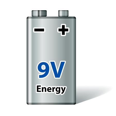 polarity: vector 9v square battery Illustration