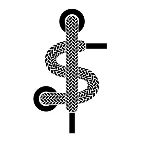 shoelace: vector shoe lace american dollar symbol