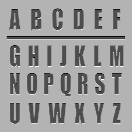 churchyard: vector stone carved alphabet font Illustration