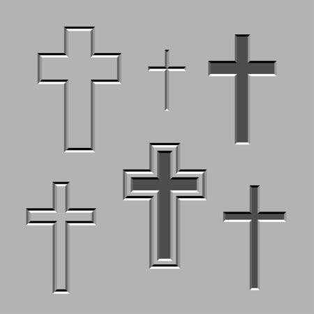 memorial cross: piedra tallada vector cruces cristianas Vectores