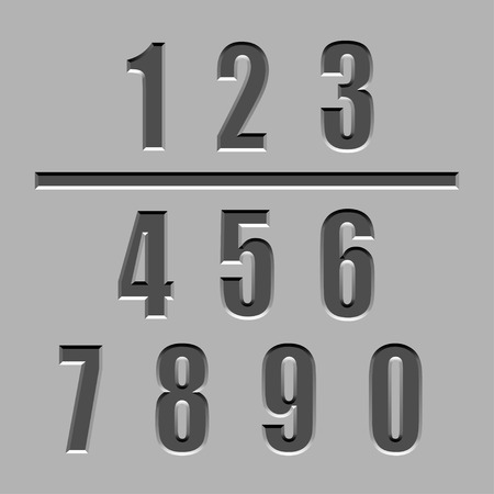 churchyard: vector stone carved numbers font