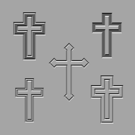 churchyard: vector stone carved christian crosses
