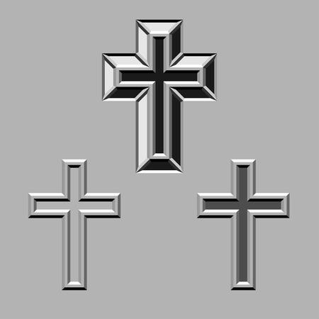 churchyard: vector 3D stone carved christian crosses Illustration