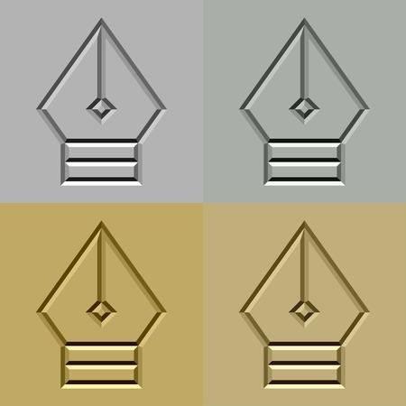 nib: vector stone carved pen nib symbol