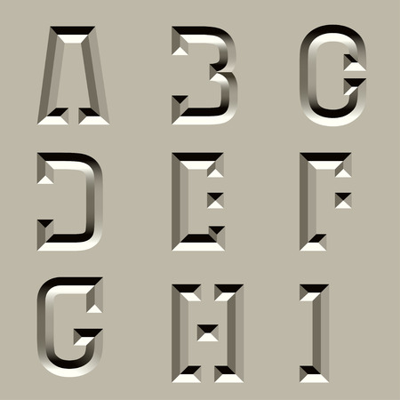 carved letters: vector stone carved alphabet font - part 1
