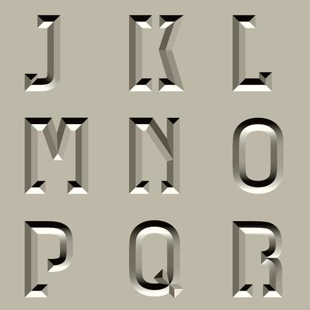 vector steen gesneden alfabet lettertype - deel 2