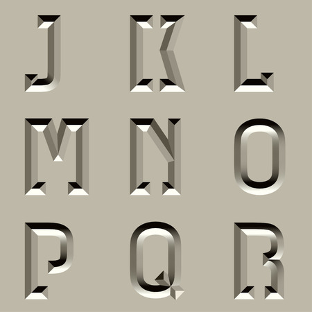 churchyard: vector stone carved alphabet font - part 2