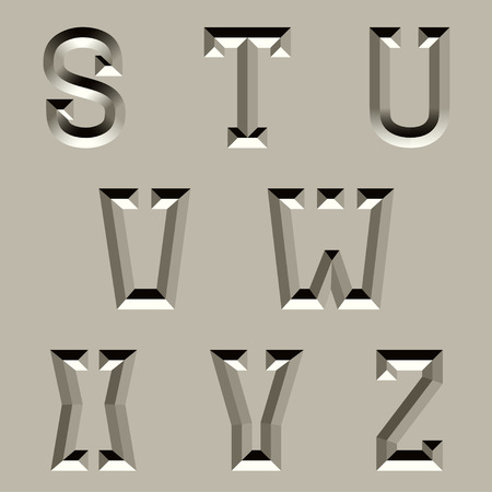 carved letters: vector stone carved alphabet font - part 3