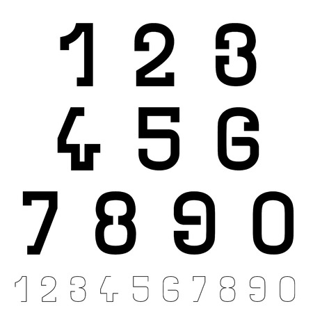 vector black simple font numbers Vector
