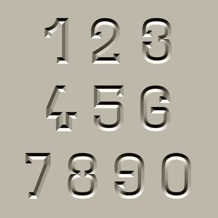 vector stone carved font numbers Vector