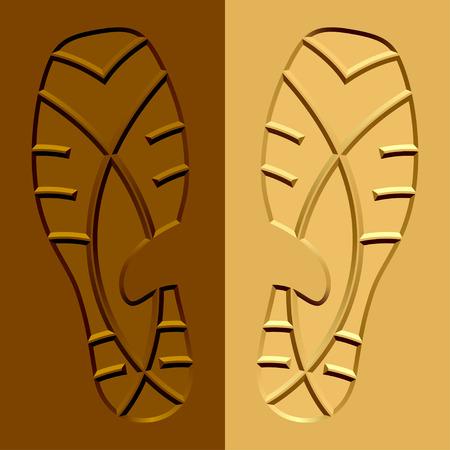 rubber sole: vector shoe imprints mud sand Illustration