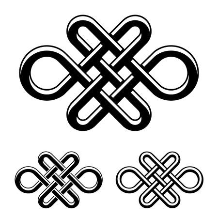eternally: vector endless celtic knot black white symbol Illustration