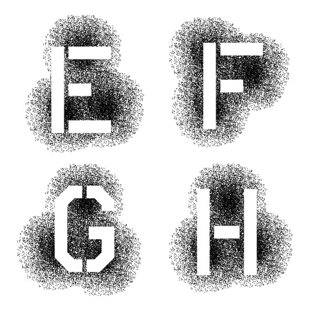 stenciled: vector stencil angular spray font letters E F G H Illustration