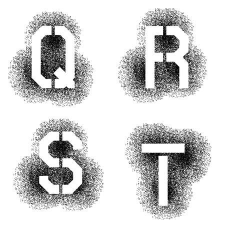 stenciled: vector stencil angular spray font letters Q R S T Illustration