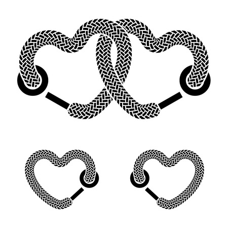 vector shoelace linked hearts black white symbols Vector