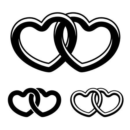 linked: vector linked hearts black white symbols
