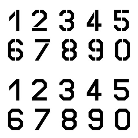 vector stencil angular font numbers Vectores