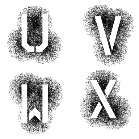 stenciled: vector stencil angular spray font letters U V W X