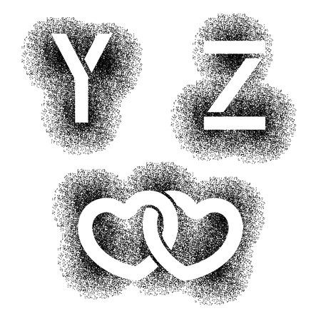 vector stencil angular spray font letters Y Z hearts Vector