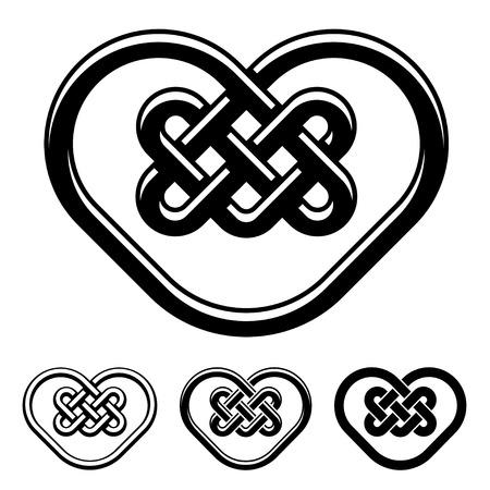 vector celtic heart black white symbols Vector