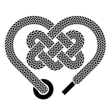 vector shoelace celtic heart black symbol