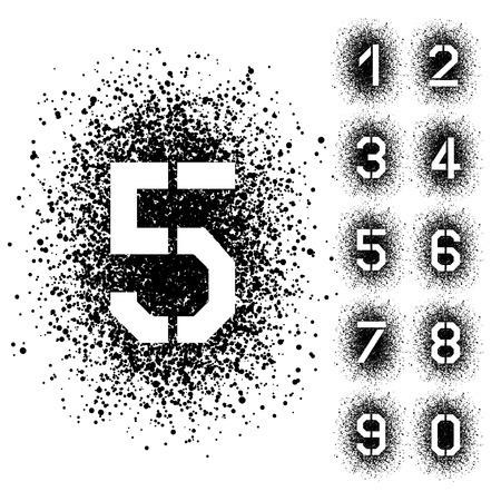 0 9: vector spray stencil angular font numbers Illustration
