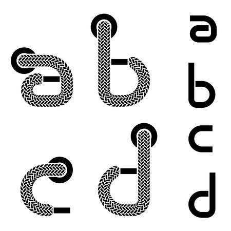 vector shoelace alphabet lower case letters a b c d Vector