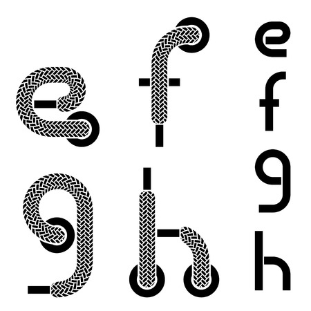 vector shoelace alphabet lower case letters e f g h Vector