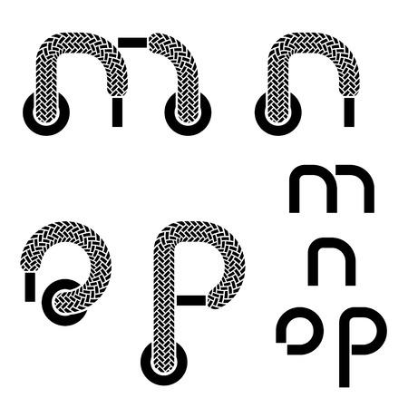 vector shoelace alphabet lower case letters m n o p Vector