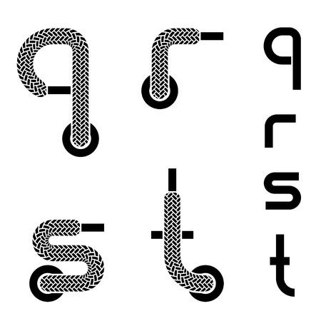 shoelace: vector shoelace alphabet lower case letters q r s t