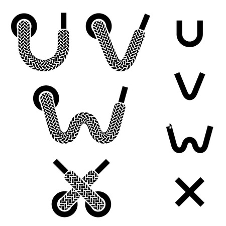 vector shoelace alphabet lower case letters u v w x Vector
