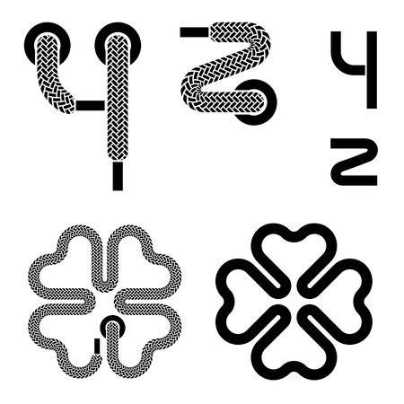 vector shoelace alphabet lower case letters y Z quarterfoil