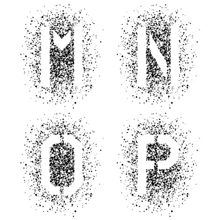 stenciled: vector stencil angular spray font letters M N O P