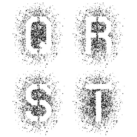 vector stencil angular spray font letters Q R S T Vector
